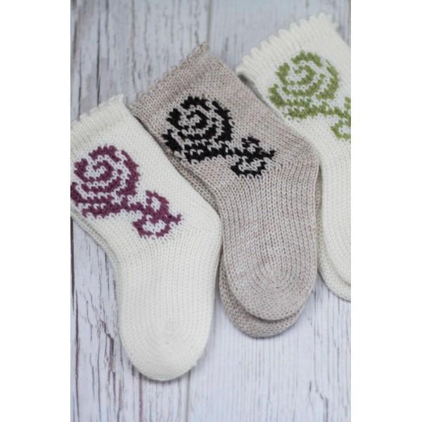 Merino vilnos megztos kojinės kūdikiams